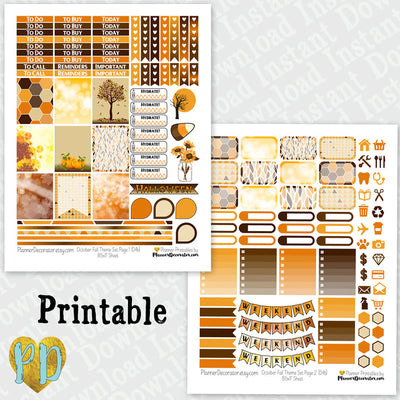 October printable planner stickers weekly sticker kit
