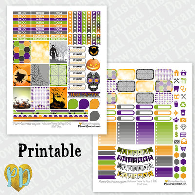 Halloween printable planner stickers weekly sticker kit