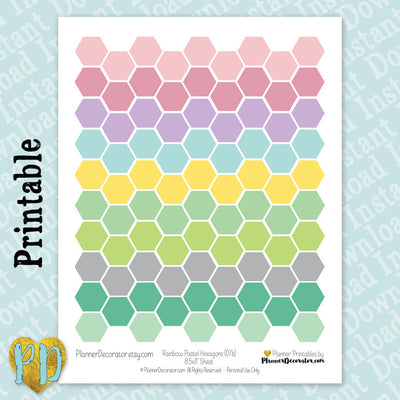Pastel Rainbow Hexagon Labels Printable Planner Stickers