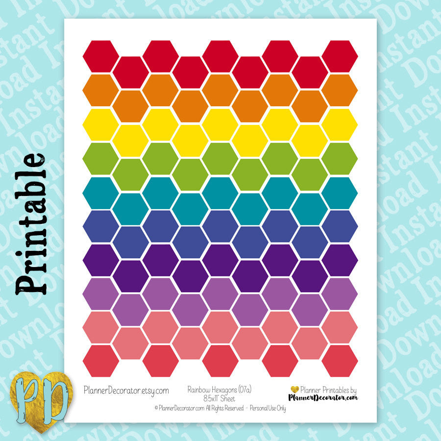 Rainbow Hexagon Printable Planner Stickers