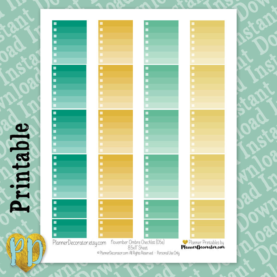 November Full & Half Box Ombre Checklist Printable Planner Stickers