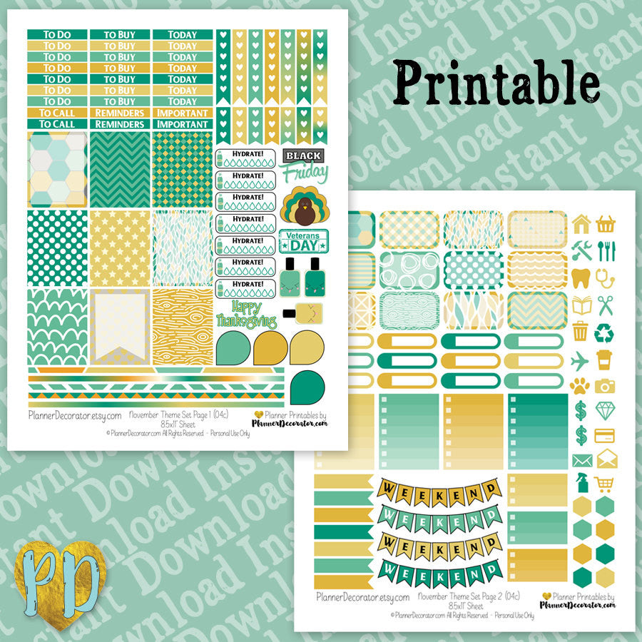 November printable planner stickers weekly sticker kit