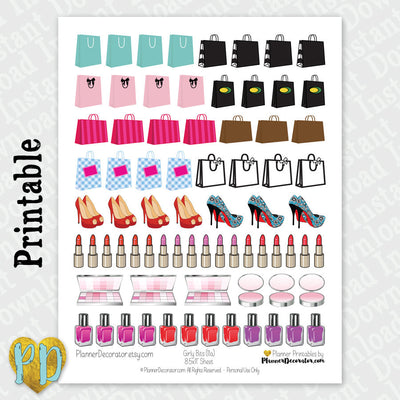 Girly Makeup & Shopping Printable Planner Stickers