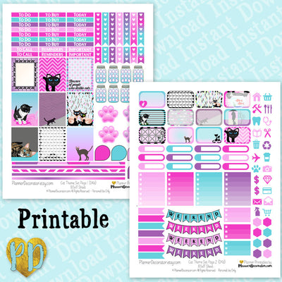 Cat Theme Printable Planner Stickers Weekly Kit