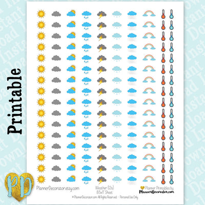 Weather Tracker Printable Planner Stickers