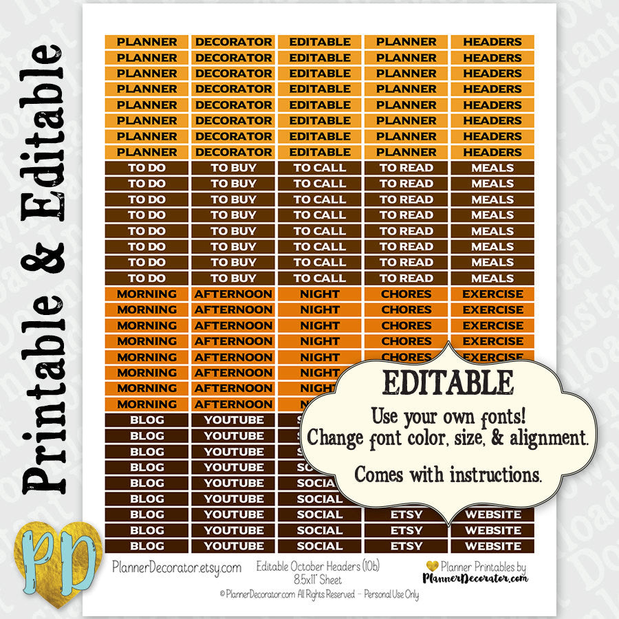 October Editable Printable Customizable Blank Header Stickers