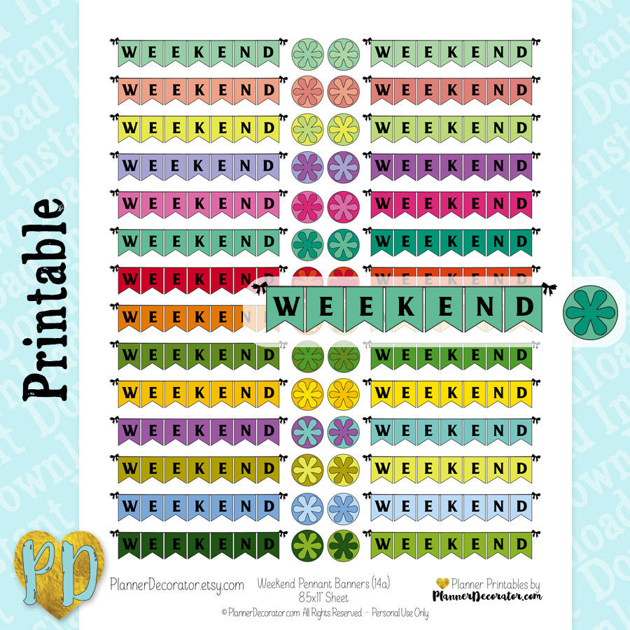 Weekend Pennant Banner Printable Planner Stickers