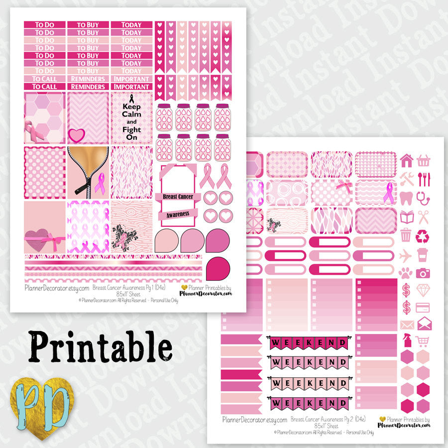 Breast Cancer Awareness Pink Ribbon printable planner stickers Weekly Sticker Kit