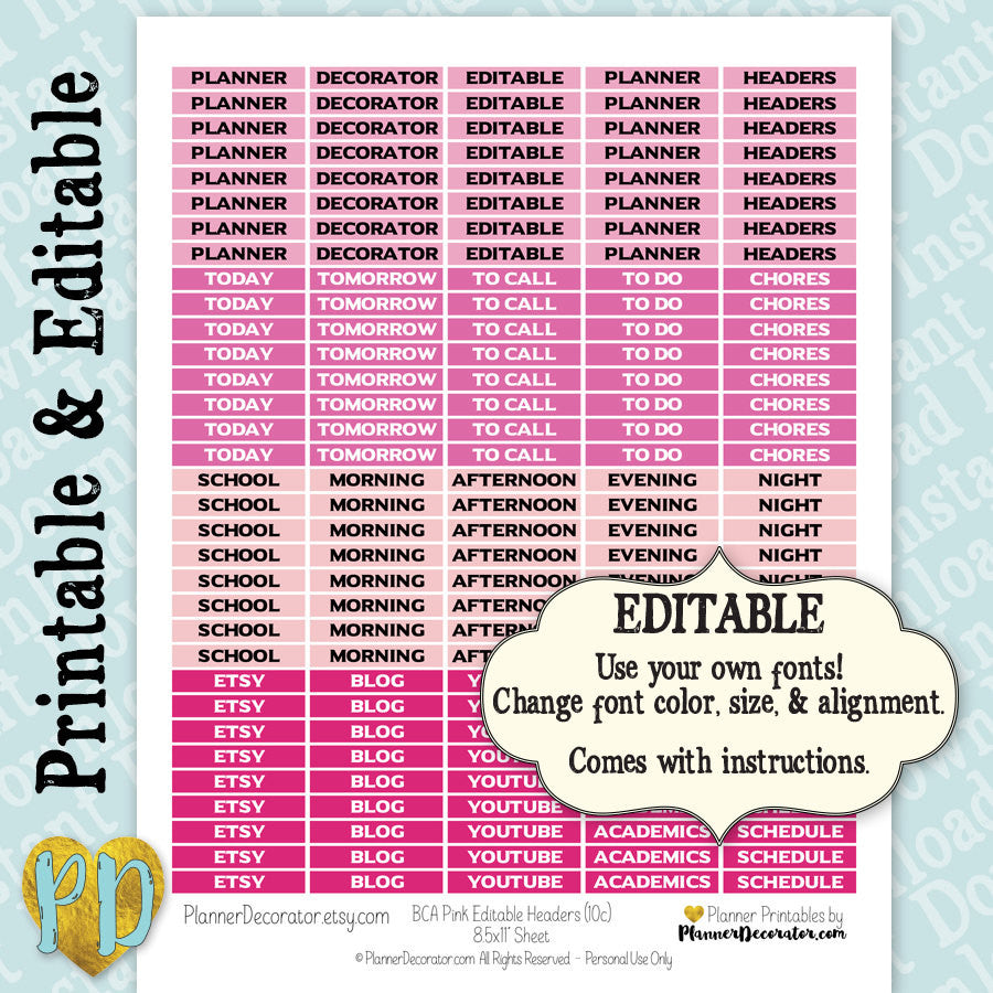 Editable Printable Customizable Blank Header Stickers in Pink