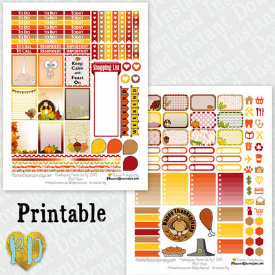 Thanksgiving printable planner stickers weekly sticker kit