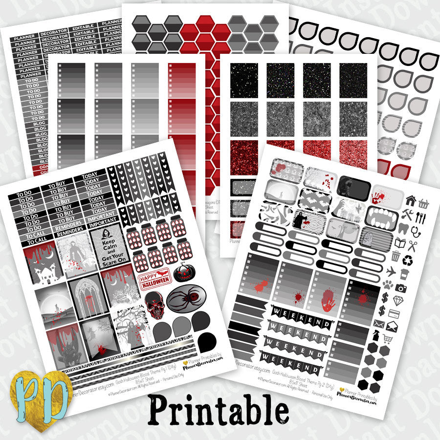 7pc Halloween Goth printable planner stickers Complete Monthly Kit