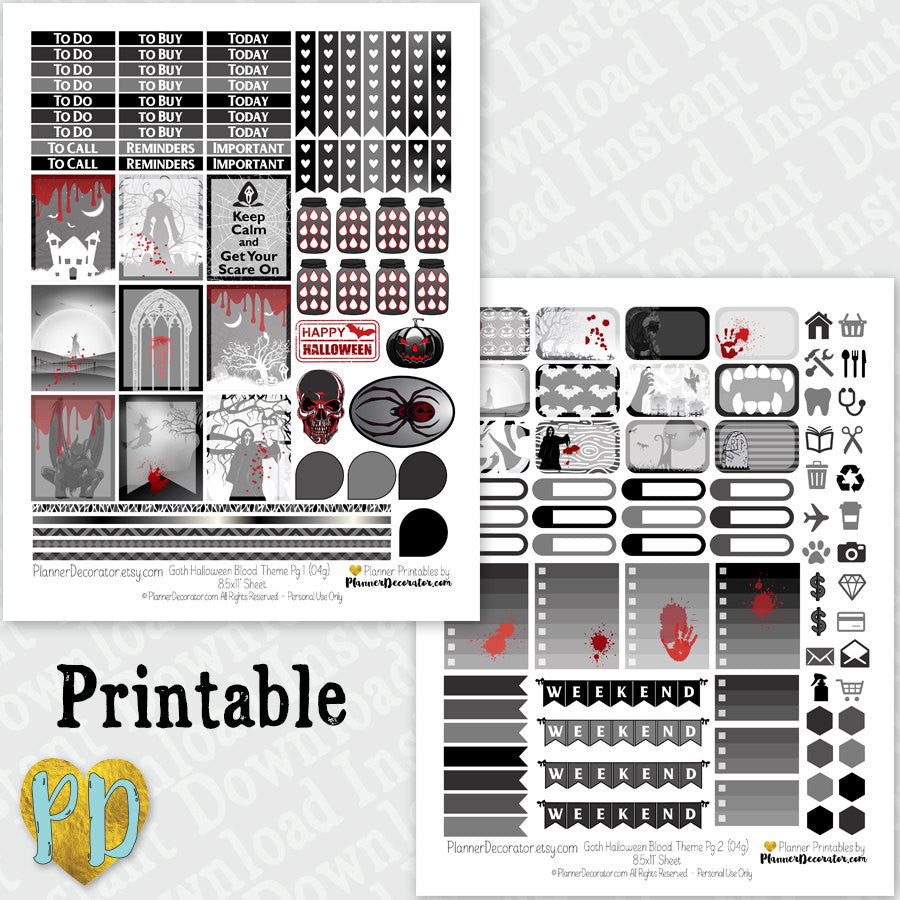 Goth Halloween printable planner stickers weekly sticker kit