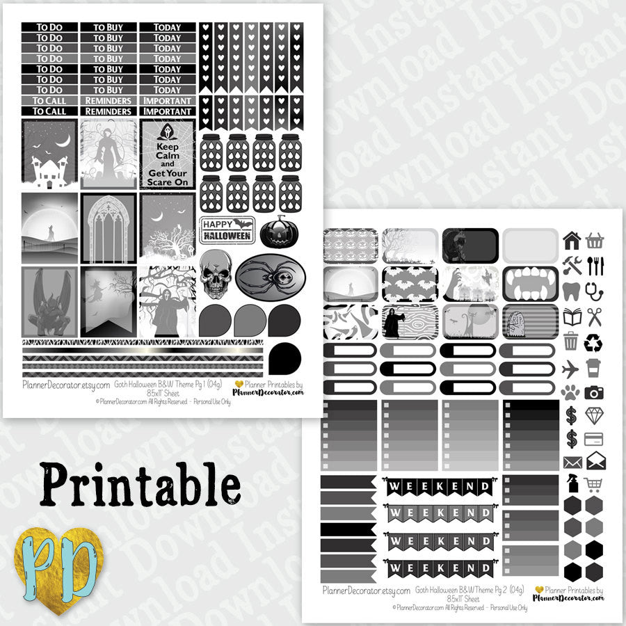 Halloween Goth printable planner stickers weekly sticker kit