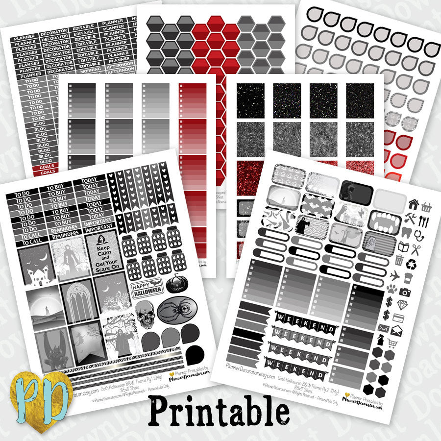 Halloween 7pc B&W Goth Printable Planner Stickers complete monthly kit