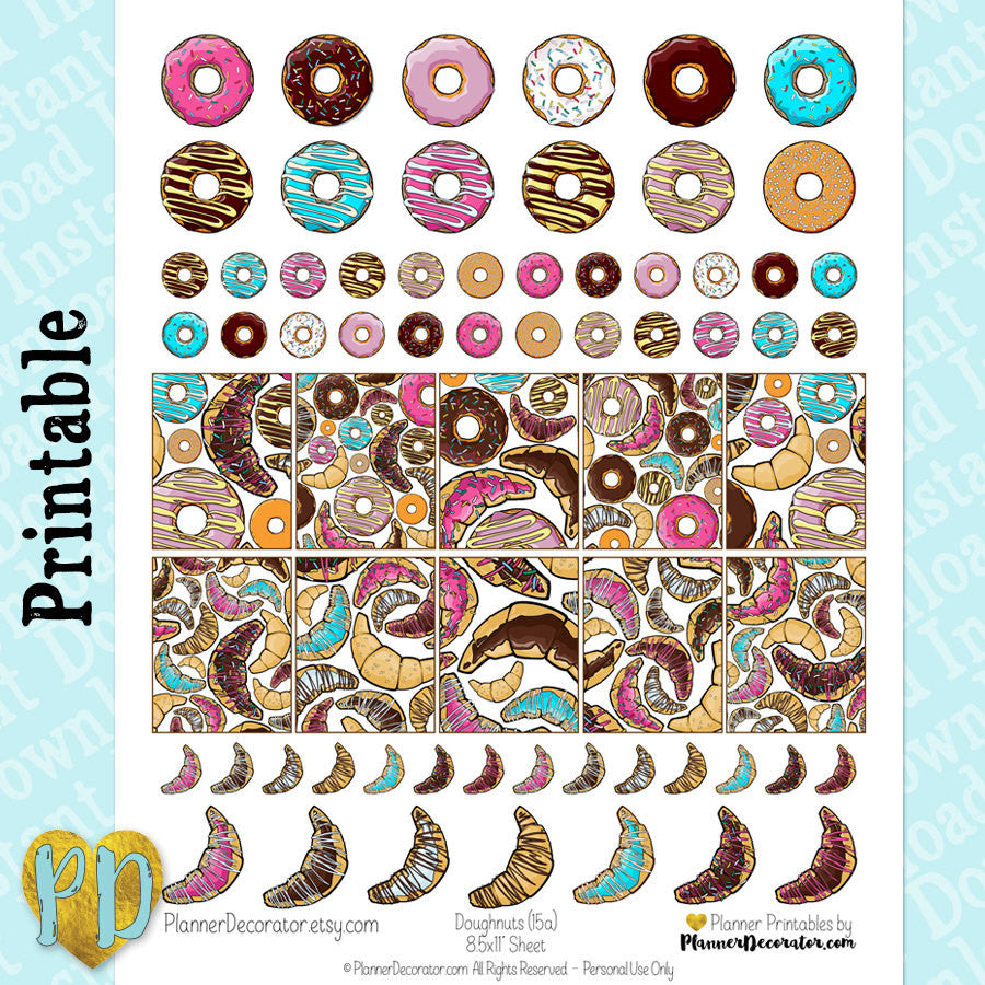 Doughnut Full Box Printable Planner Stickers
