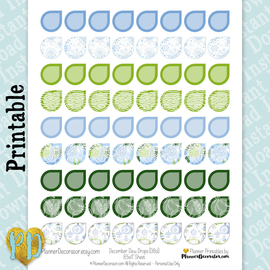December Dew Drop Printable Planner Stickers in Blue & Green