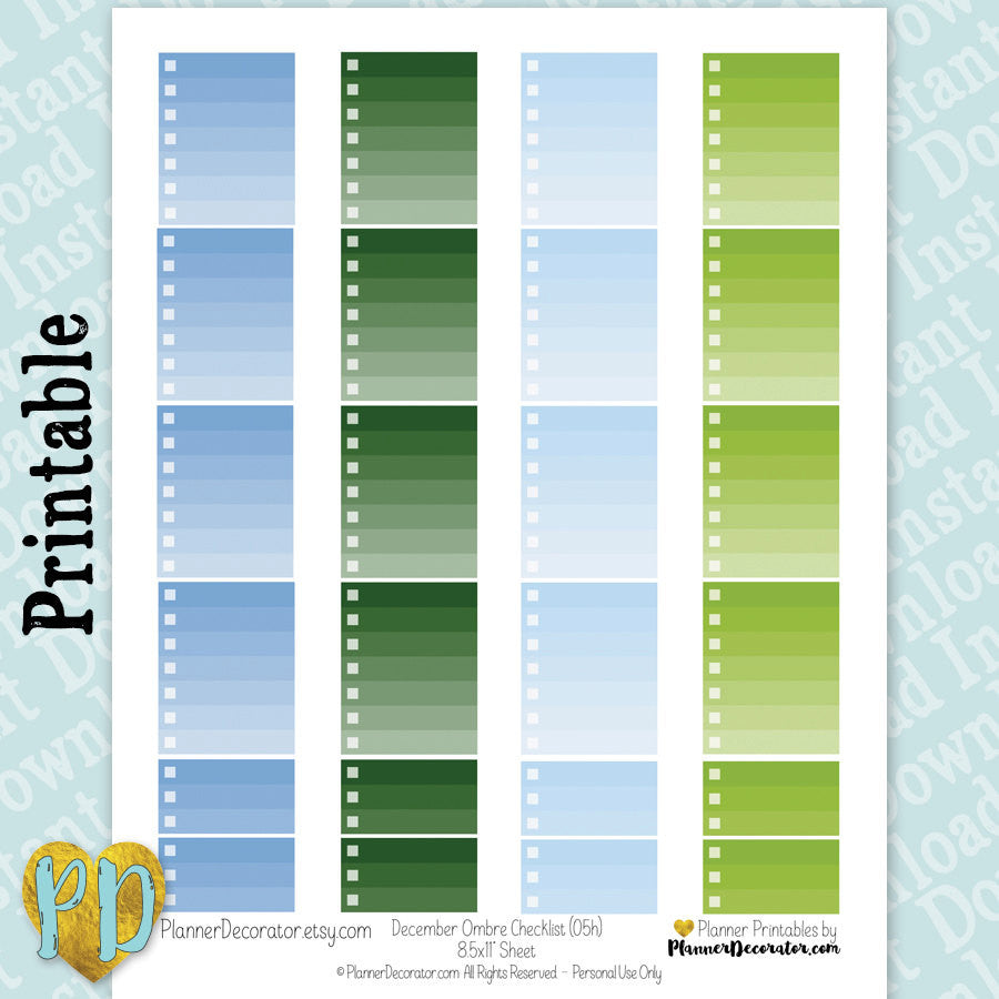 December Blue & Green Ombre Checklist Printable Planner Stickers