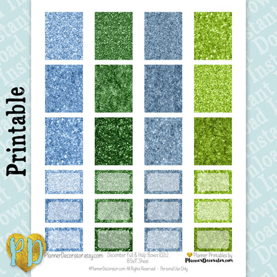 December Faux Glitter Printable Planner Stickers, Full & Half Box stickers in green & blue
