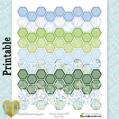 December Hexagon Printable Planner Stickers in blue & green