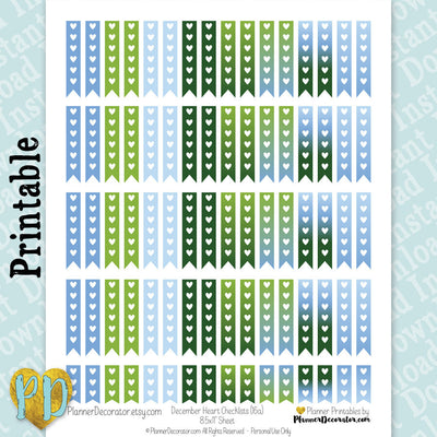 December Heart Checklist Printable Planner Stickers in Blue & Green