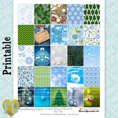 December Christmas Full Box & Faux Washi Printable Planner Stickers