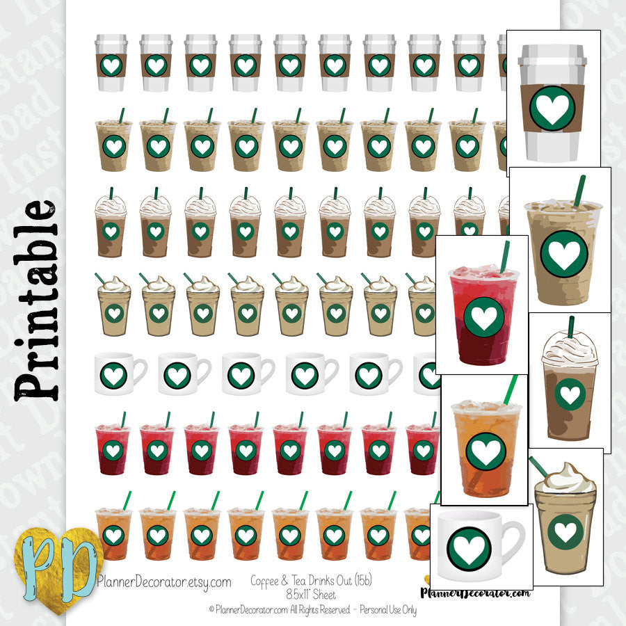 Tea & Coffee Printable Planner Stickers, Iced Tea and Coffee drinks, Instant Download
