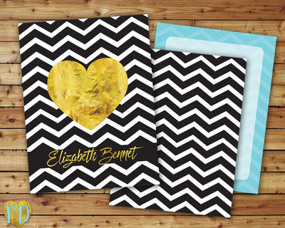 Personalized Printable DIY Planner Cover, Black Chevron & Gold Foil Heart