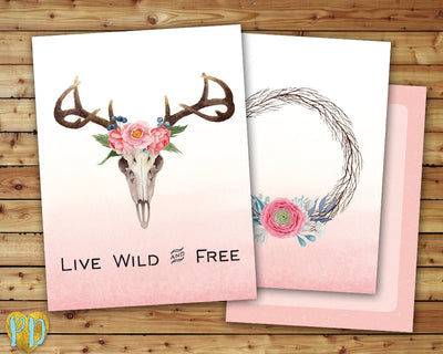 Live Wild & Free Deer Head DIY Printable Planner Cover
