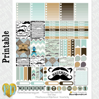 Movember Mustache Printable planner stickers Weekly Sticker Kit