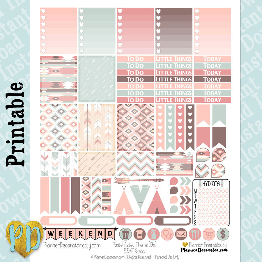 Tribal Pastel Aztec printable planner stickers weekly sticker kit