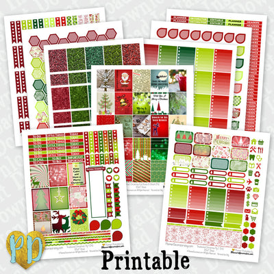9pc CHRISTMAS printable planner stickers Monthly Sticker Kit