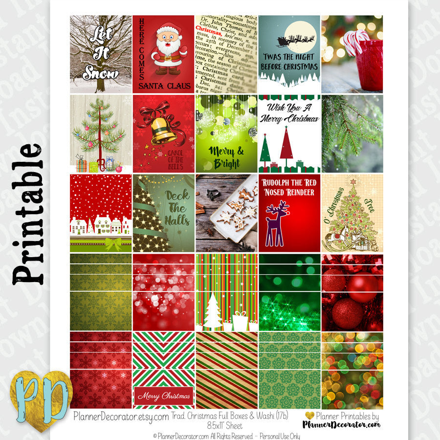 Christmas Full Box & Faux Washi Printable Planner Stickers