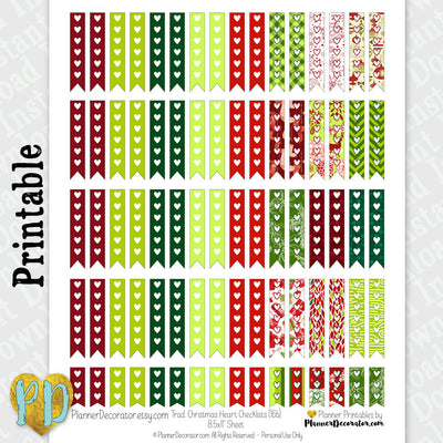 Christmas Heart Checklist Printable Planner Stickers in red & green