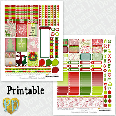 Christmas printable planner stickers 2 page Christmas weekly sticker kit