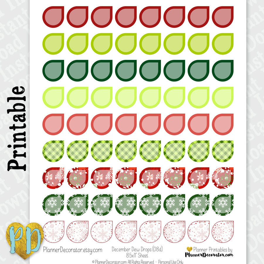 Christmas Dew Drop Printable Planner Stickers