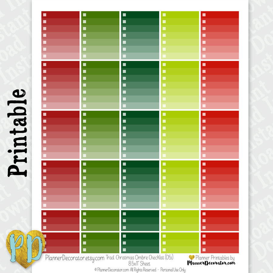Red & Green Ombre Christmas Full & Half Box Checklist Printable Planner Stickers