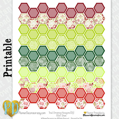 Christmas Hexagon Printable Planner Stickers in Red & Green