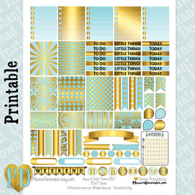 Aqua & Gold printable planner stickers weekly sticker kit