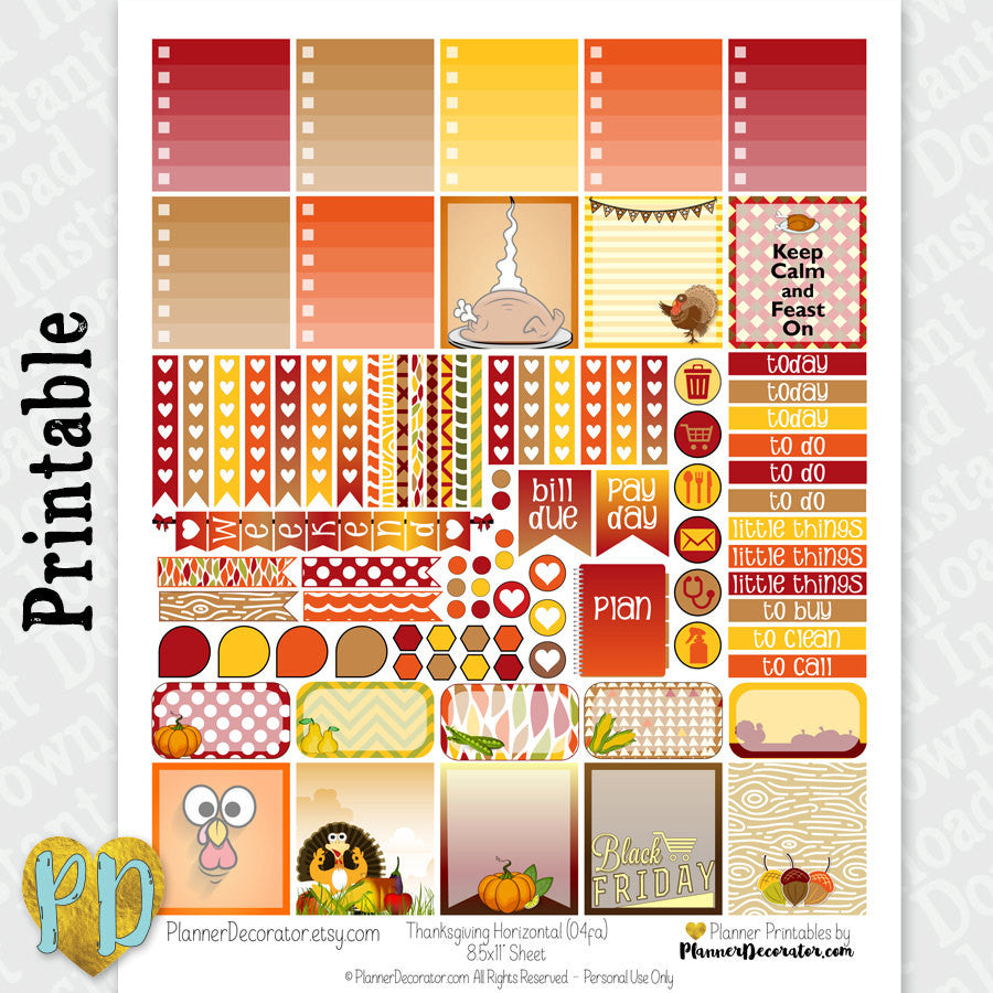 Thanksgiving Horizontal printable planner stickers weekly sticker kit