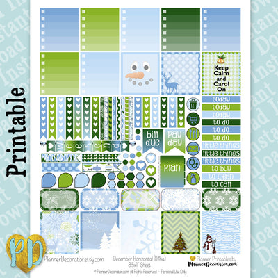 Winter printable Horizontal planner stickers, blue & green weekly sticker kit
