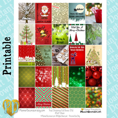 Christmas Full Box Printable Planner Stickers