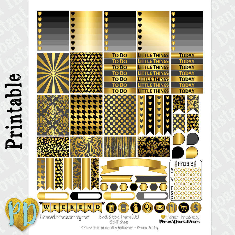 New Years Black & Gold printable planner stickers weekly sticker kit