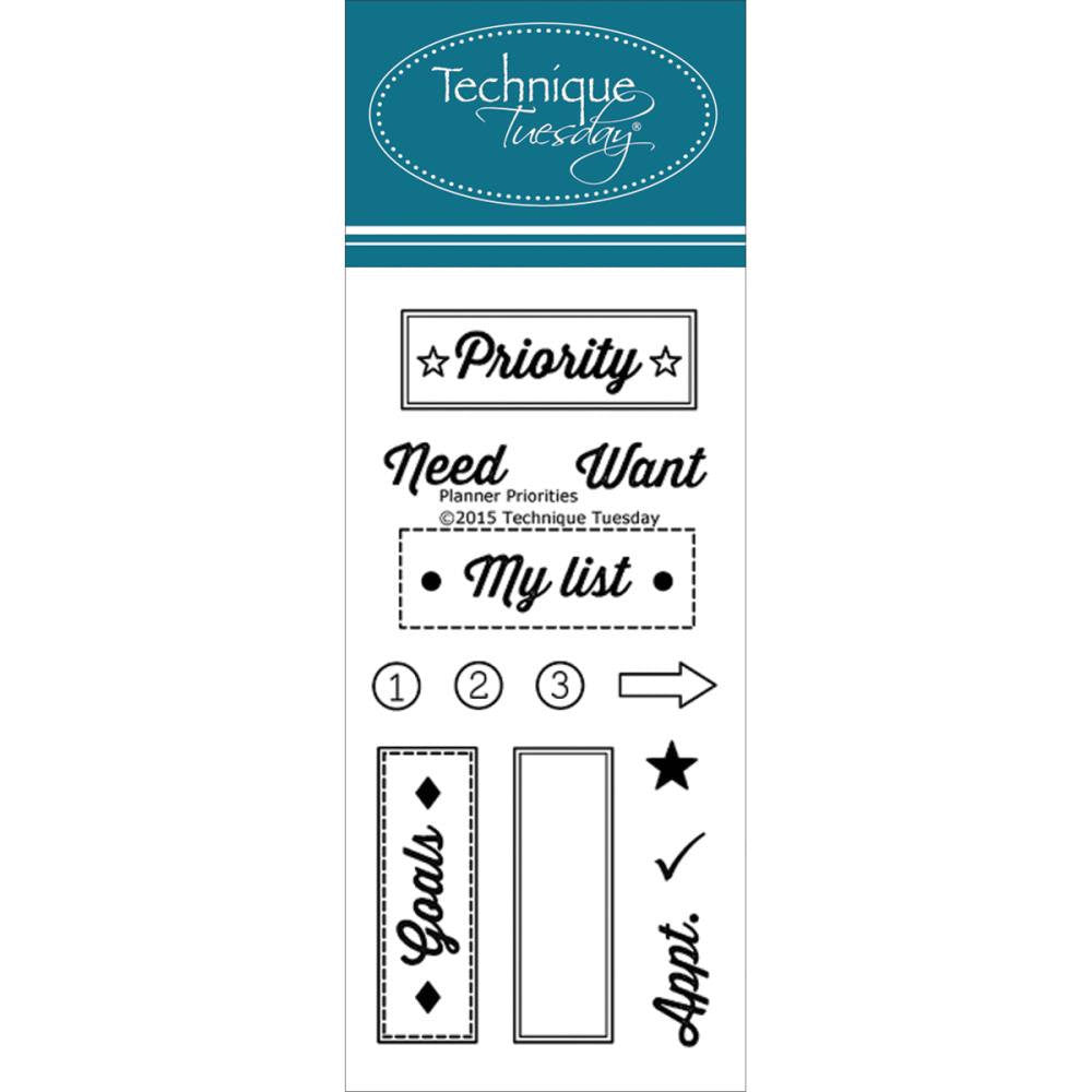 Priorities Clear Planner Stamps by Technique Tuesday