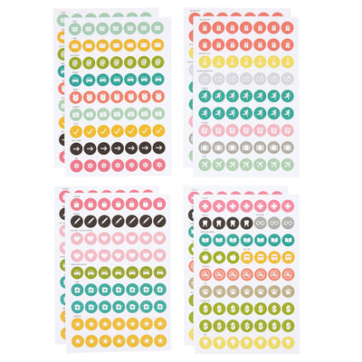 Carpe Diem Planner Calendar Icon Stickers, 504 Stickers, 8 sheets