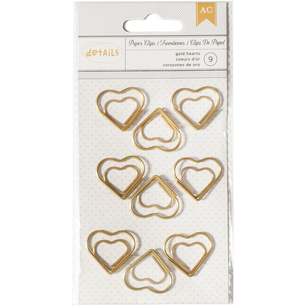 Heart Gold Paper Clips by American Crafts