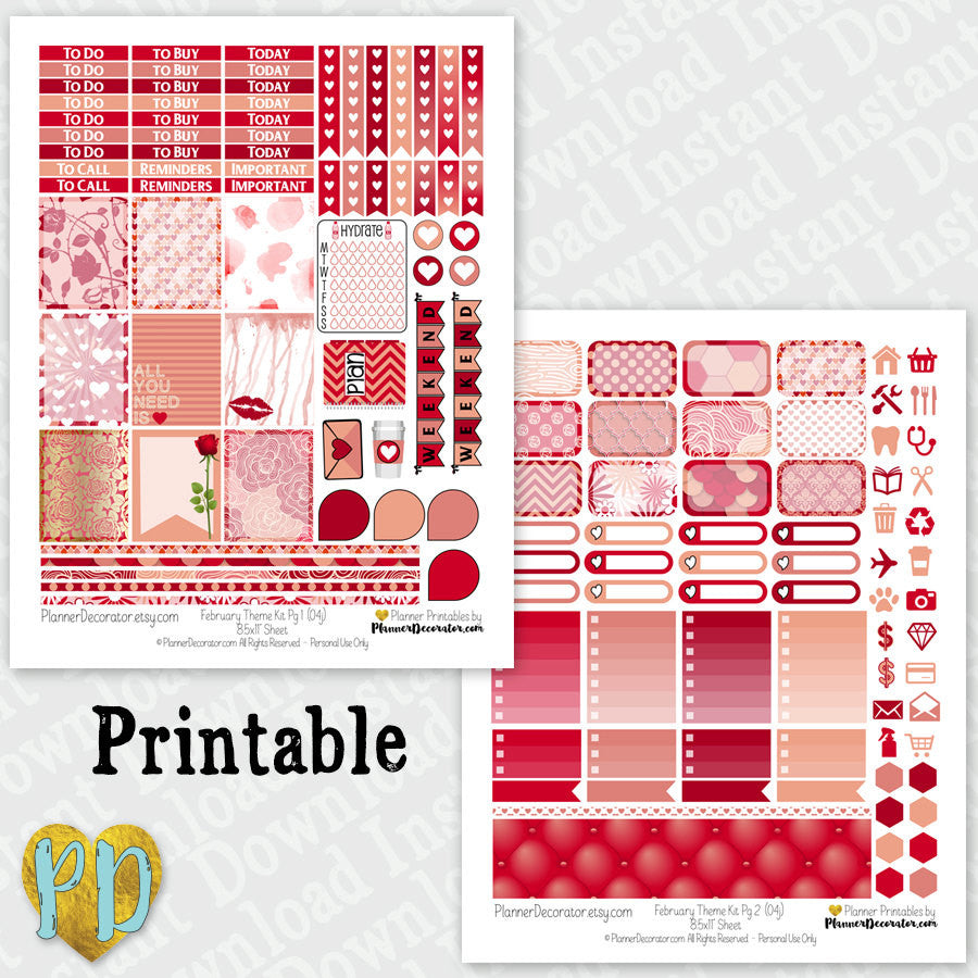February printable planner stickers Monthly Sticker Kit
