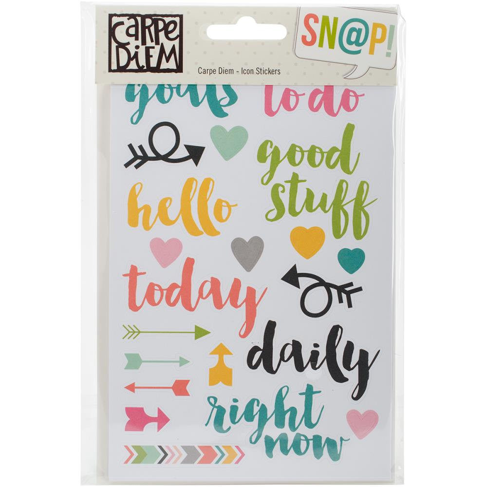 Carpe Diem Icon Planner Stickers, 324 Stickers, 8 sheets
