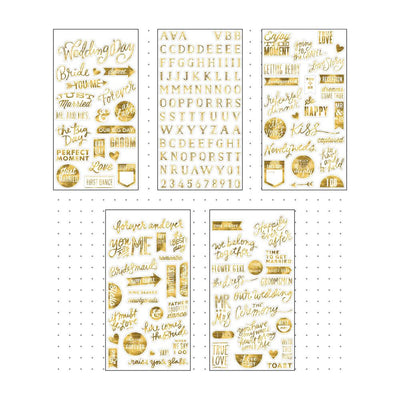 MAMBI Pocket Pages WEDDING DAY Gold Foil Stickers