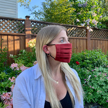 New Burgundy Pleated Face Mask