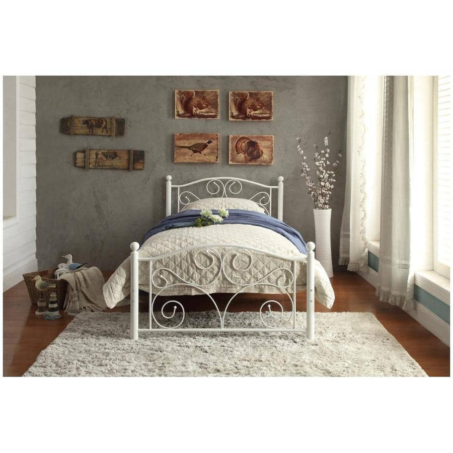 White Vintage Twin Metal Platform Bed